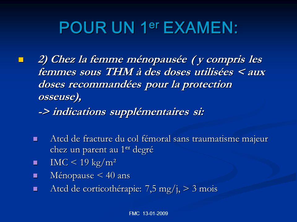 FMC 13-01-2009 POUR UN 1 er EXAMEN: 2) Chez la femme ménopausée ( y compris les femmes sous THM à des doses utilisées < aux doses recommandées pour la