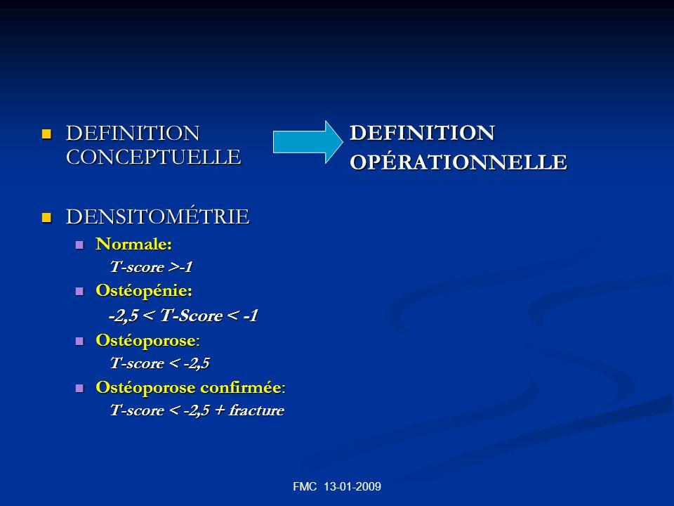 FMC 13-01-2009 DEFINITION CONCEPTUELLE DEFINITION CONCEPTUELLE DENSITOMÉTRIE DENSITOMÉTRIE Normale: Normale: T-score >-1 Ostéopénie: Ostéopénie: -2,5