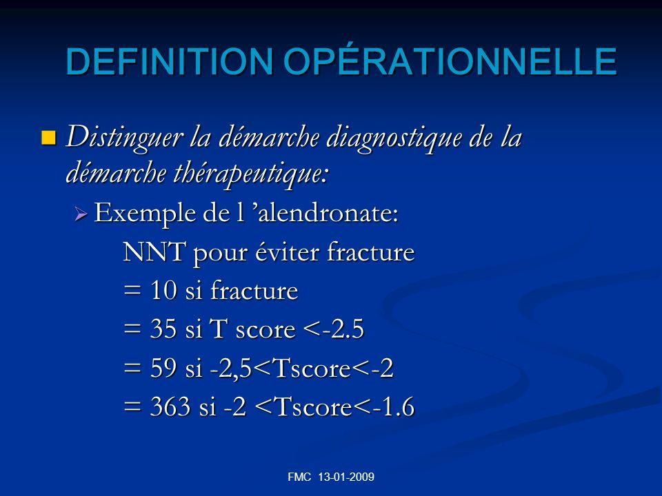 FMC 13-01-2009 DEFINITION OPÉRATIONNELLE DEFINITION OPÉRATIONNELLE Distinguer la démarche diagnostique de la démarche thérapeutique: Distinguer la dém