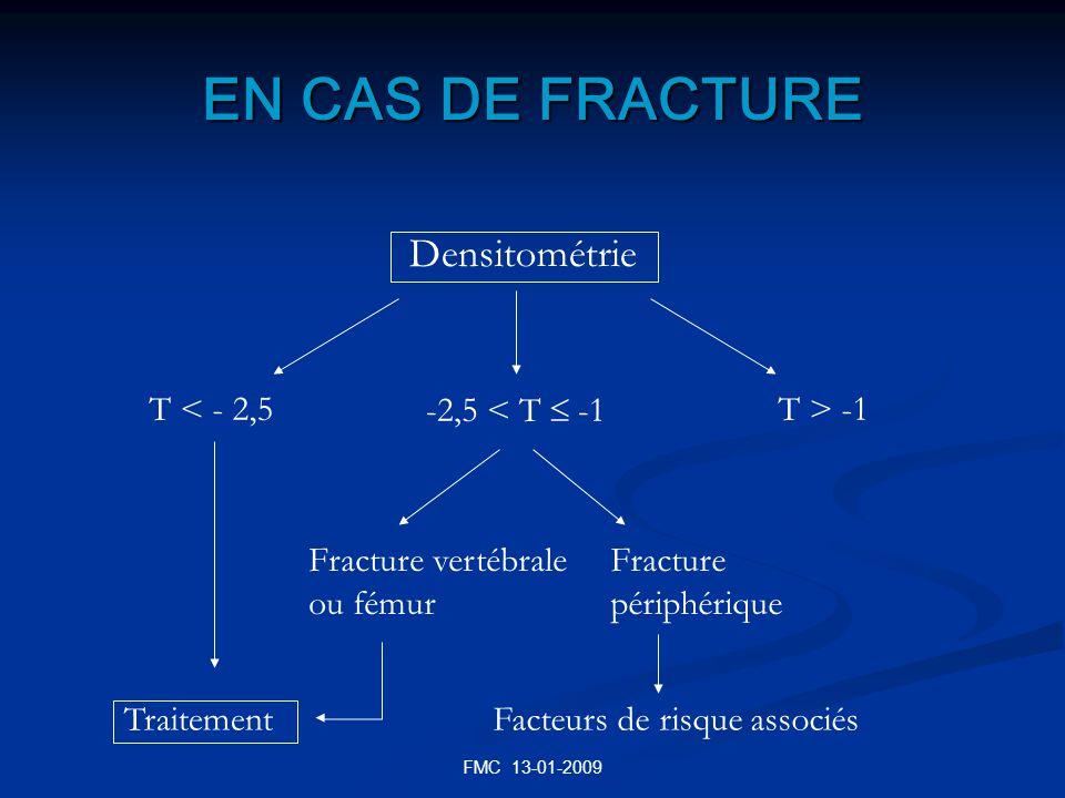 FMC 13-01-2009 EN CAS DE FRACTURE Densitométrie T < - 2,5 -2,5 < T -1 T > -1 Traitement Fracture vertébrale ou fémur Fracture périphérique Facteurs de