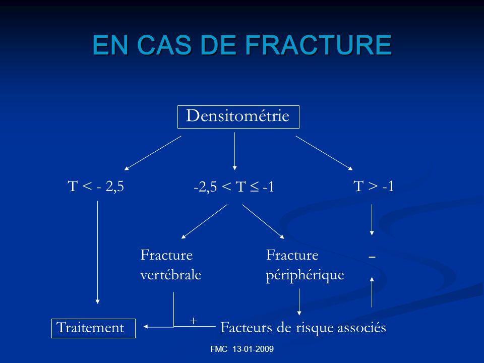 FMC 13-01-2009 EN CAS DE FRACTURE Densitométrie T < - 2,5 -2,5 < T -1 T > -1 Traitement Fracture vertébrale Fracture périphérique Facteurs de risque a