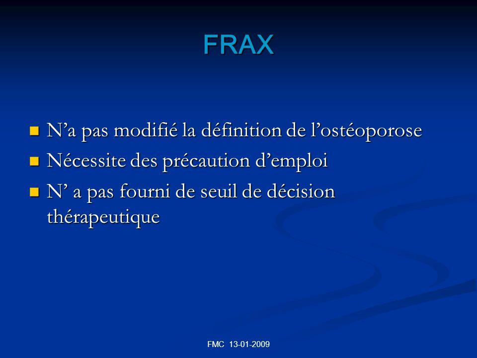 FRAX Na pas modifié la définition de lostéoporose Na pas modifié la définition de lostéoporose Nécessite des précaution demploi Nécessite des précauti