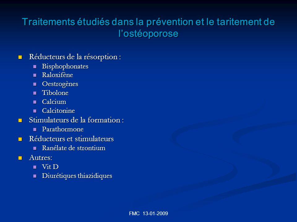 FMC 13-01-2009 Traitements étudiés dans la prévention et le taritement de lostéoporose Réducteurs de la résorption : Réducteurs de la résorption : Bis