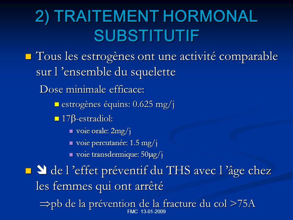 FMC 13-01-2009 2) TRAITEMENT HORMONAL SUBSTITUTIF Tous les estrogènes ont une activité comparable sur l ensemble du squelette Tous les estrogènes ont