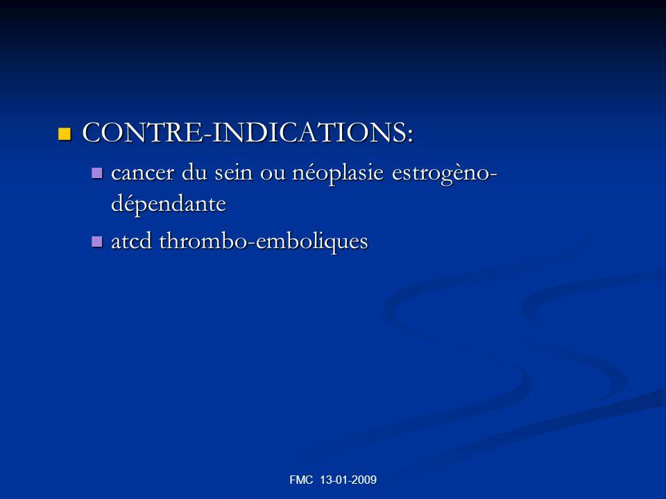 FMC 13-01-2009 CONTRE-INDICATIONS: CONTRE-INDICATIONS: cancer du sein ou néoplasie estrogèno- dépendante cancer du sein ou néoplasie estrogèno- dépend