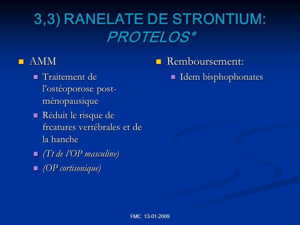 FMC 13-01-2009 3,3) RANELATE DE STRONTIUM: PROTELOS* AMM AMM Traitement de lostéoporose post- ménopausique Traitement de lostéoporose post- ménopausiq