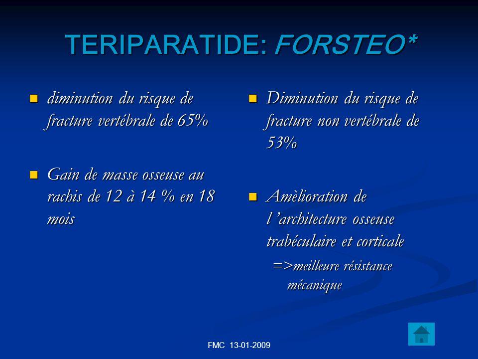 FMC 13-01-2009 TERIPARATIDE: FORSTEO* diminution du risque de fracture vertébrale de 65% diminution du risque de fracture vertébrale de 65% Gain de ma