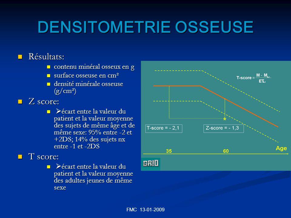 FMC 13-01-2009 DENSITOMETRIE OSSEUSE Résultats: Résultats: contenu minéral osseux en g contenu minéral osseux en g surface osseuse en cm² surface osse