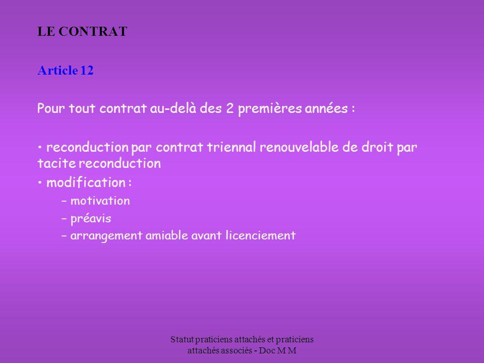 Statut praticiens attachés et praticiens attachés associés - Doc M M LE CONTRAT Article 12 Pour tout contrat au-delà des 2 premières années : reconduc