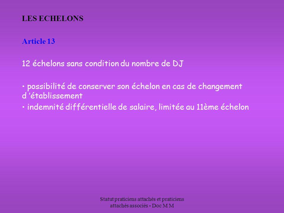 Statut praticiens attachés et praticiens attachés associés - Doc M M LES ECHELONS Article 13 12 échelons sans condition du nombre de DJ possibilité de conserver son échelon en cas de changement d établissement indemnité différentielle de salaire, limitée au 11ème échelon