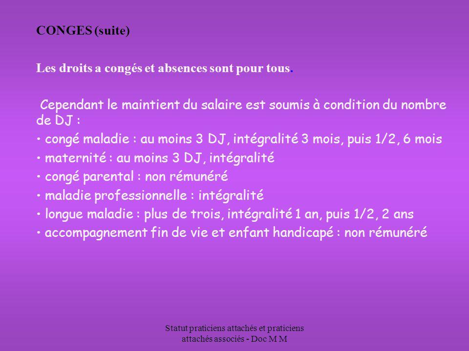 Statut praticiens attachés et praticiens attachés associés - Doc M M CONGES (suite) Les droits a congés et absences sont pour tous.