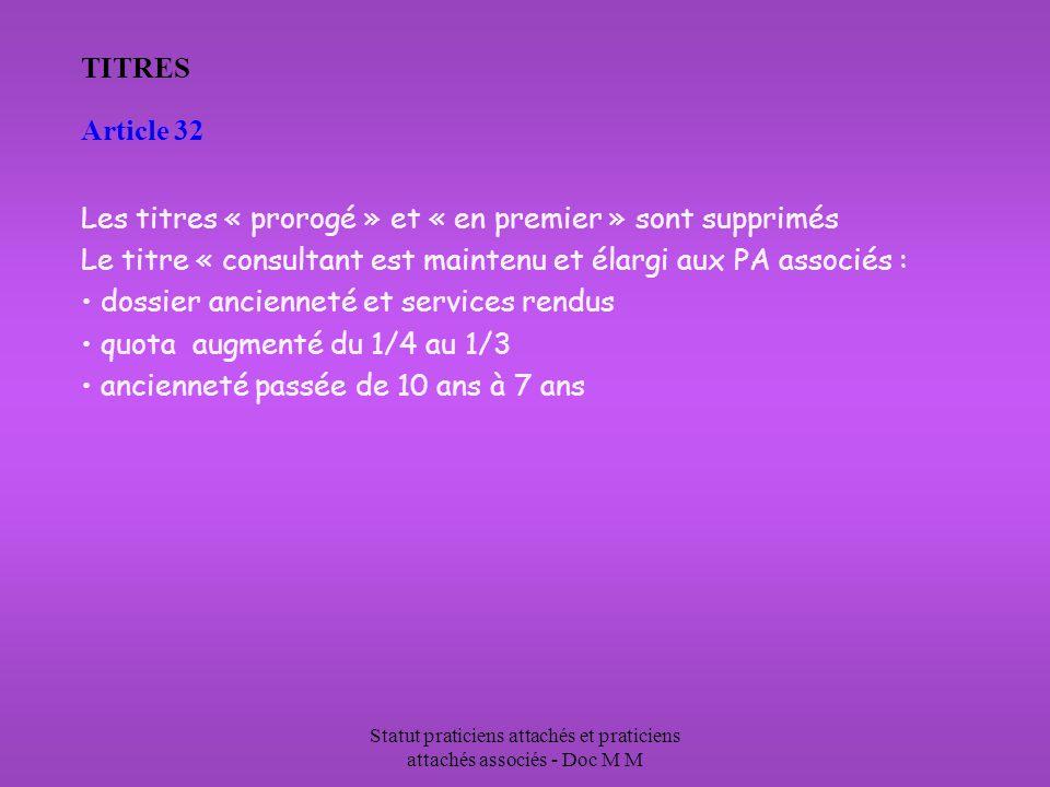 Statut praticiens attachés et praticiens attachés associés - Doc M M TITRES Article 32 Les titres « prorogé » et « en premier » sont supprimés Le titr