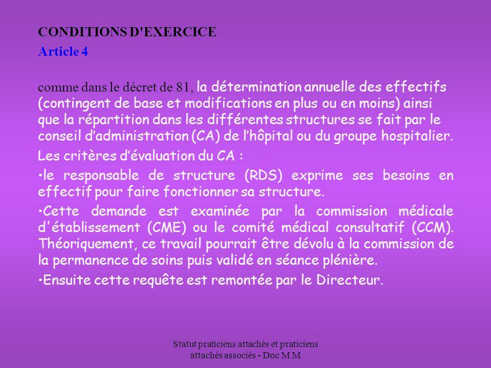 Statut praticiens attachés et praticiens attachés associés - Doc M M CONDITIONS D'EXERCICE Article 4 comme dans le décret de 81, la détermination annu