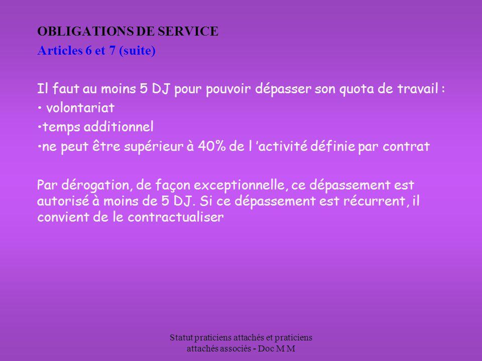 Statut praticiens attachés et praticiens attachés associés - Doc M M OBLIGATIONS DE SERVICE Articles 6 et 7 (suite) Il faut au moins 5 DJ pour pouvoir