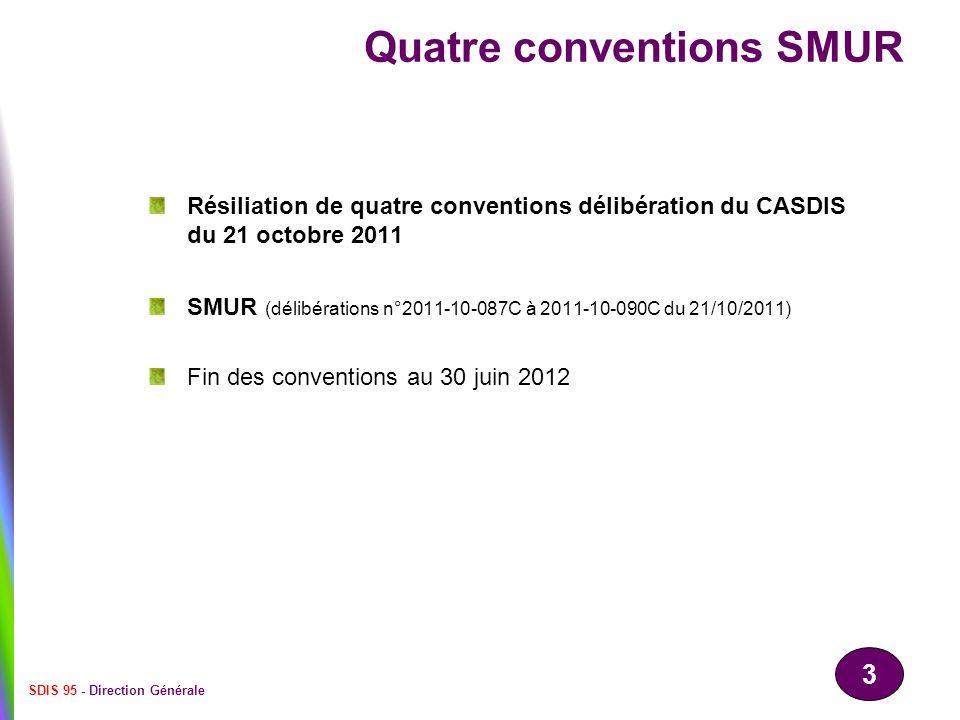 3 SDIS 95 - Direction Générale Quatre conventions SMUR Résiliation de quatre conventions délibération du CASDIS du 21 octobre 2011 SMUR (délibérations