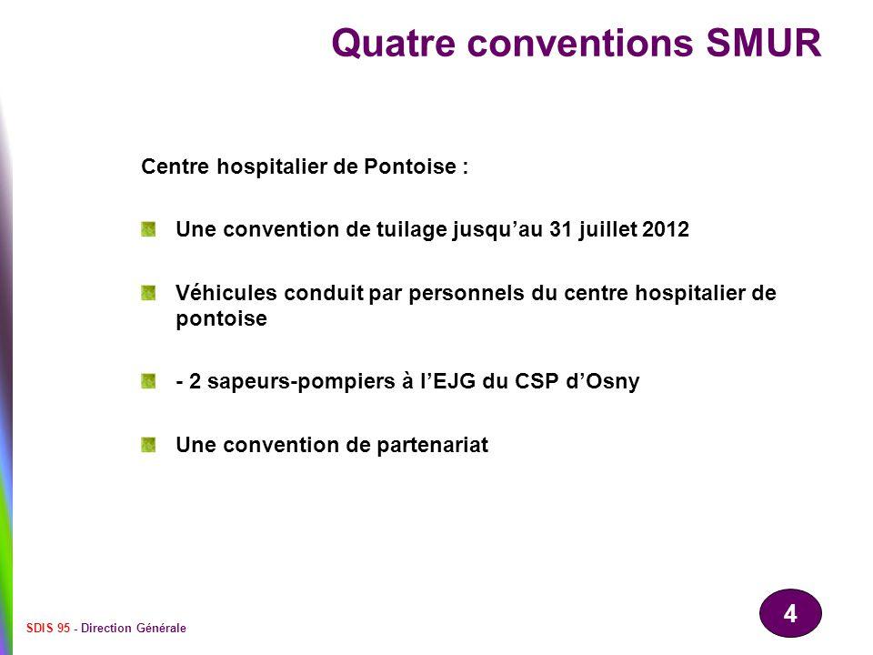 4 SDIS 95 - Direction Générale Quatre conventions SMUR Centre hospitalier de Pontoise : Une convention de tuilage jusquau 31 juillet 2012 Véhicules co