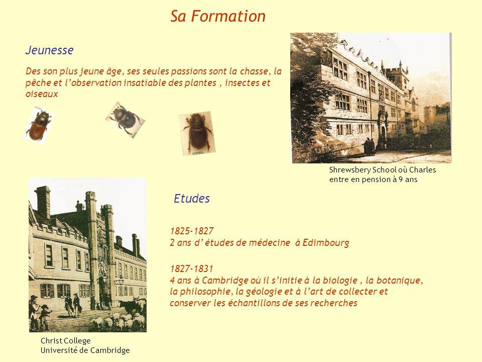 Sa Formation Shrewsbery School où Charles entre en pension à 9 ans Christ College Université de Cambridge Etudes 1825-1827 2 ans d études de médecine