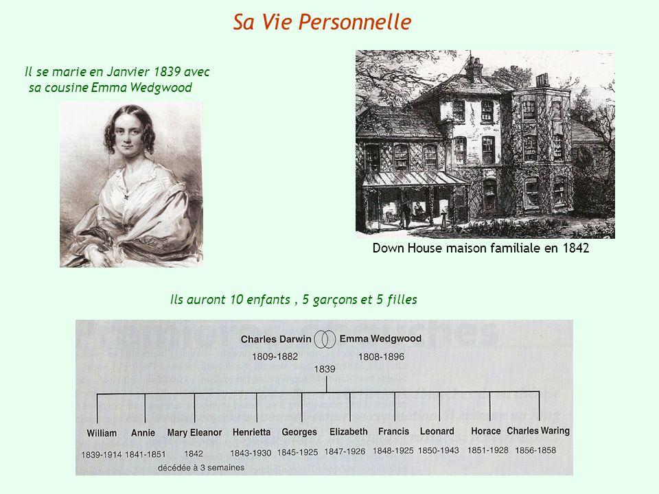 Sa Vie Personnelle Il se marie en Janvier 1839 avec sa cousine Emma Wedgwood Down House maison familiale en 1842 Ils auront 10 enfants, 5 garçons et 5
