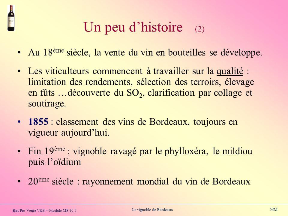 Bac Pro Vente V&S – Module MP 10.5 Le vignoble de Bordeaux MM Au 18 ème siècle, la vente du vin en bouteilles se développe. Les viticulteurs commencen
