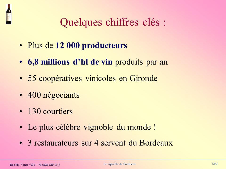 Bac Pro Vente V&S – Module MP 10.5 Le vignoble de Bordeaux MM Plus de 12 000 producteurs 6,8 millions dhl de vin produits par an 55 coopératives vinic