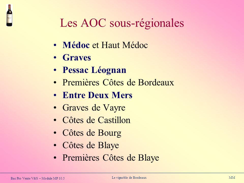 Bac Pro Vente V&S – Module MP 10.5 Le vignoble de Bordeaux MM Les AOC sous-régionales Médoc et Haut Médoc Graves Pessac Léognan Premières Côtes de Bor