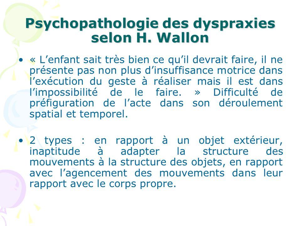Psychopathologie des dyspraxies selon H. Wallon « Lenfant sait très bien ce quil devrait faire, il ne présente pas non plus dinsuffisance motrice dans