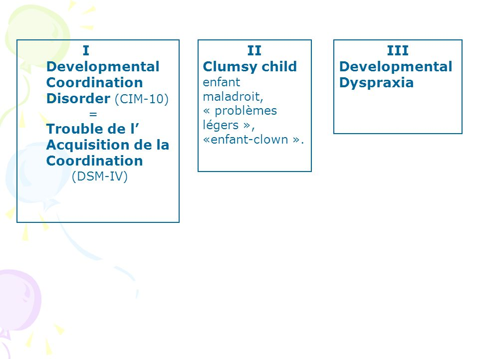 I Developmental Coordination Disorder (CIM-10) = Trouble de l Acquisition de la Coordination (DSM-IV) II Clumsy child enfant maladroit, « problèmes lé