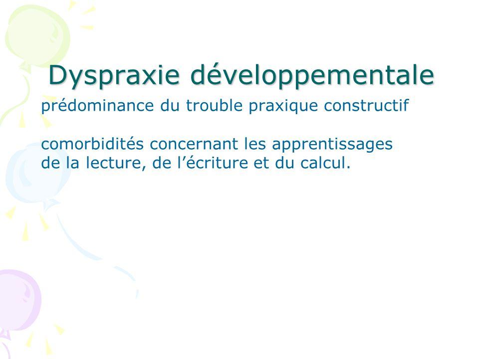 Dyspraxie développementale prédominance du trouble praxique constructif comorbidités concernant les apprentissages de la lecture, de lécriture et du calcul.