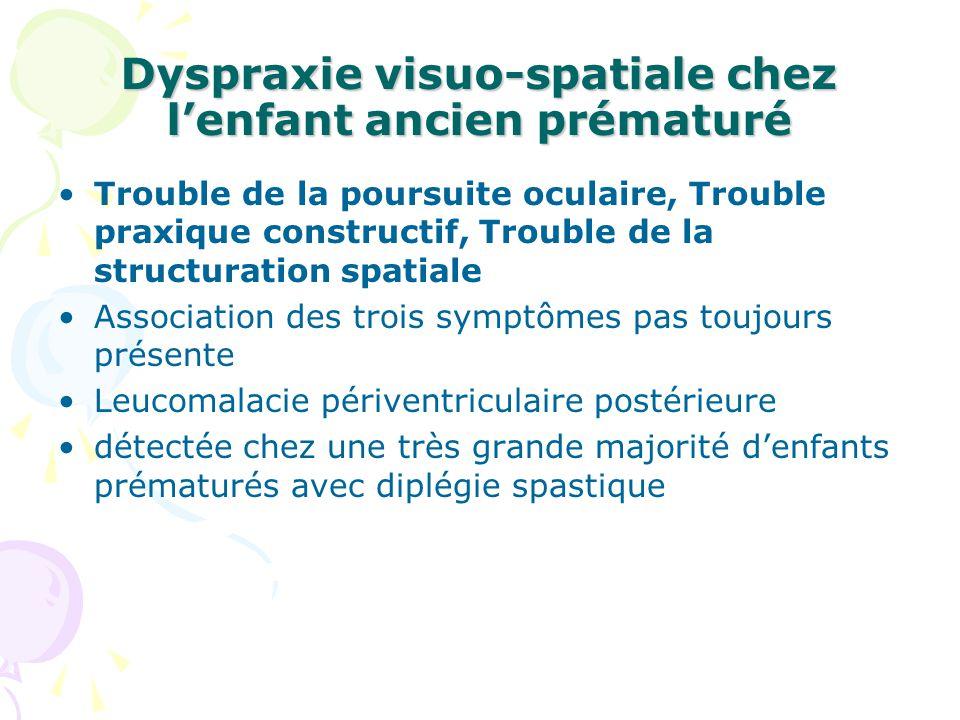 Dyspraxie visuo-spatiale chez lenfant ancien prématuré Trouble de la poursuite oculaire, Trouble praxique constructif, Trouble de la structuration spa