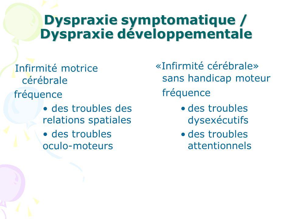 Dyspraxie symptomatique / Dyspraxie développementale Infirmité motrice cérébrale fréquence des troubles des relations spatiales des troubles oculo-mot
