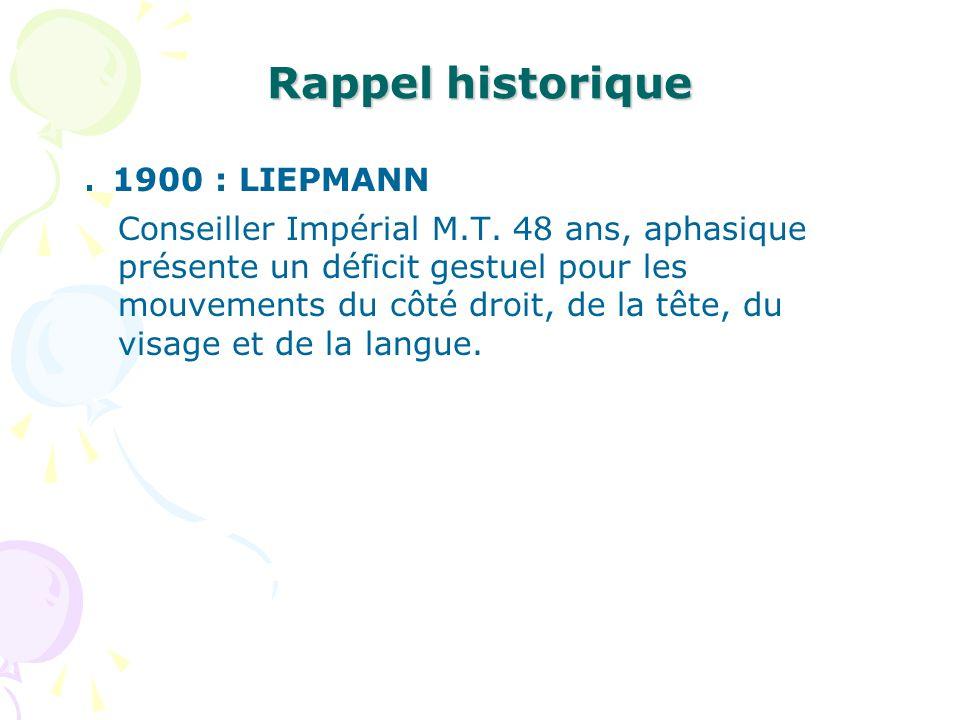 Rappel historique. 1900 : LIEPMANN Conseiller Impérial M.T. 48 ans, aphasique présente un déficit gestuel pour les mouvements du côté droit, de la têt