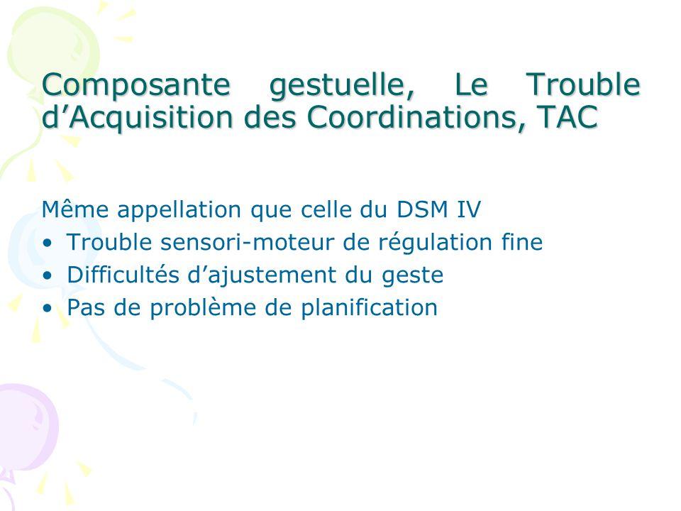 Composante gestuelle, Le Trouble dAcquisition des Coordinations, TAC Même appellation que celle du DSM IV Trouble sensori-moteur de régulation fine Difficultés dajustement du geste Pas de problème de planification