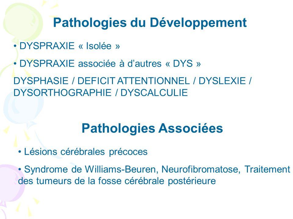 DYSPRAXIE « Isolée » DYSPRAXIE associée à dautres « DYS » DYSPHASIE / DEFICIT ATTENTIONNEL / DYSLEXIE / DYSORTHOGRAPHIE / DYSCALCULIE Pathologies du Développement Pathologies Associées Lésions cérébrales précoces Syndrome de Williams-Beuren, Neurofibromatose, Traitement des tumeurs de la fosse cérébrale postérieure