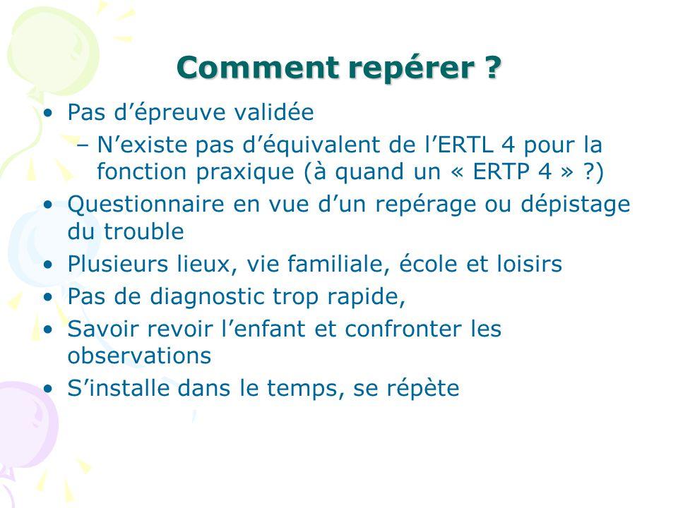 Comment repérer ? Pas dépreuve validée –Nexiste pas déquivalent de lERTL 4 pour la fonction praxique (à quand un « ERTP 4 » ?) Questionnaire en vue du