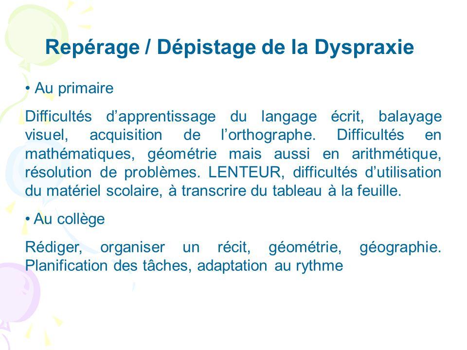 Repérage / Dépistage de la Dyspraxie Au primaire Difficultés dapprentissage du langage écrit, balayage visuel, acquisition de lorthographe. Difficulté