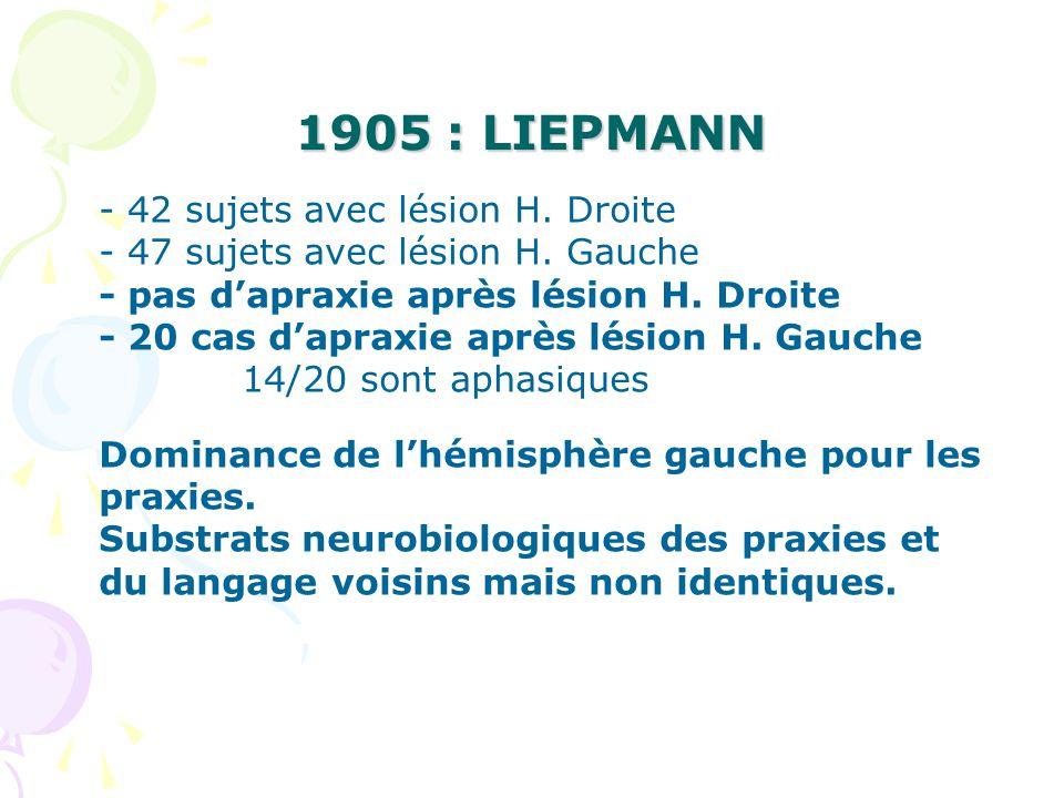 1905 : LIEPMANN - 42 sujets avec lésion H. Droite - 47 sujets avec lésion H. Gauche - pas dapraxie après lésion H. Droite - 20 cas dapraxie après lési