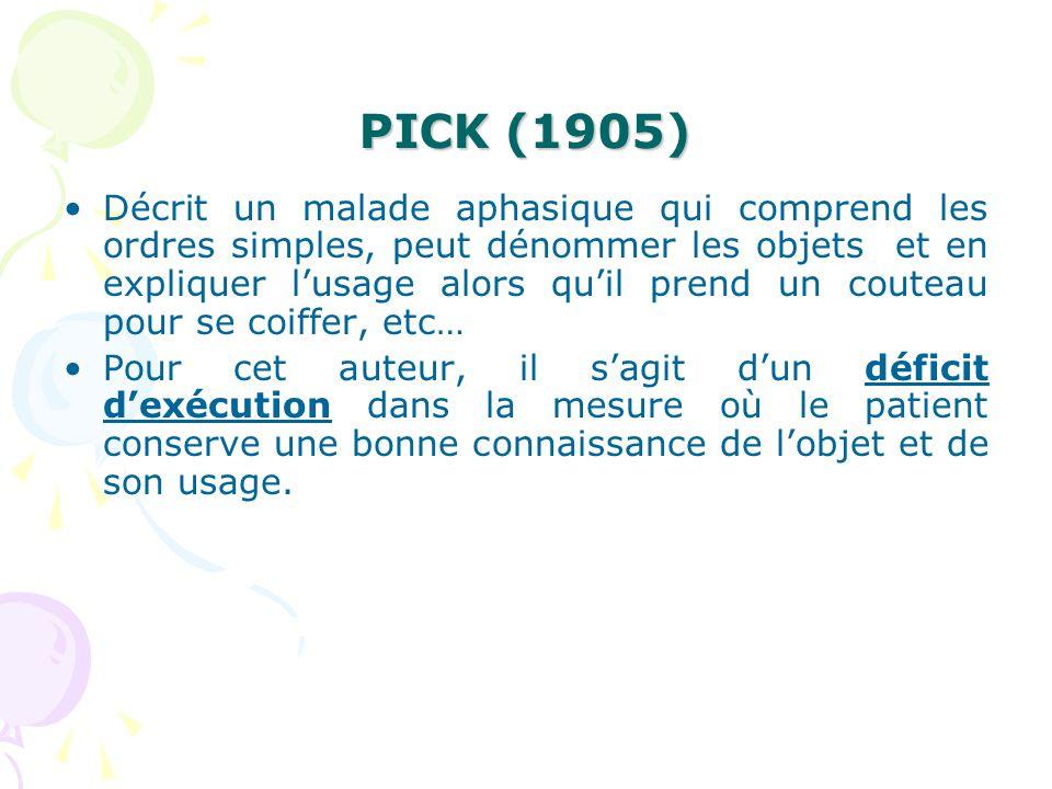 PICK (1905) Décrit un malade aphasique qui comprend les ordres simples, peut dénommer les objets et en expliquer lusage alors quil prend un couteau po