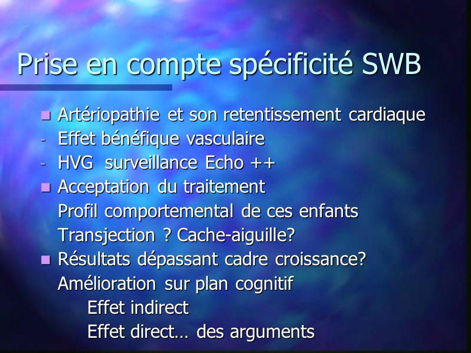 Prise en compte spécificité SWB Artériopathie et son retentissement cardiaque Artériopathie et son retentissement cardiaque - Effet bénéfique vasculai