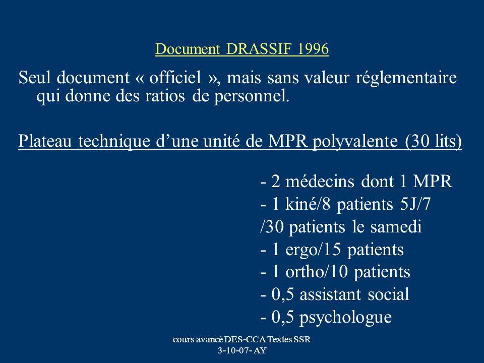 cours avancé DES-CCA Textes SSR 3-10-07- AY Document DRASSIF 1996 Seul document « officiel », mais sans valeur réglementaire qui donne des ratios de p