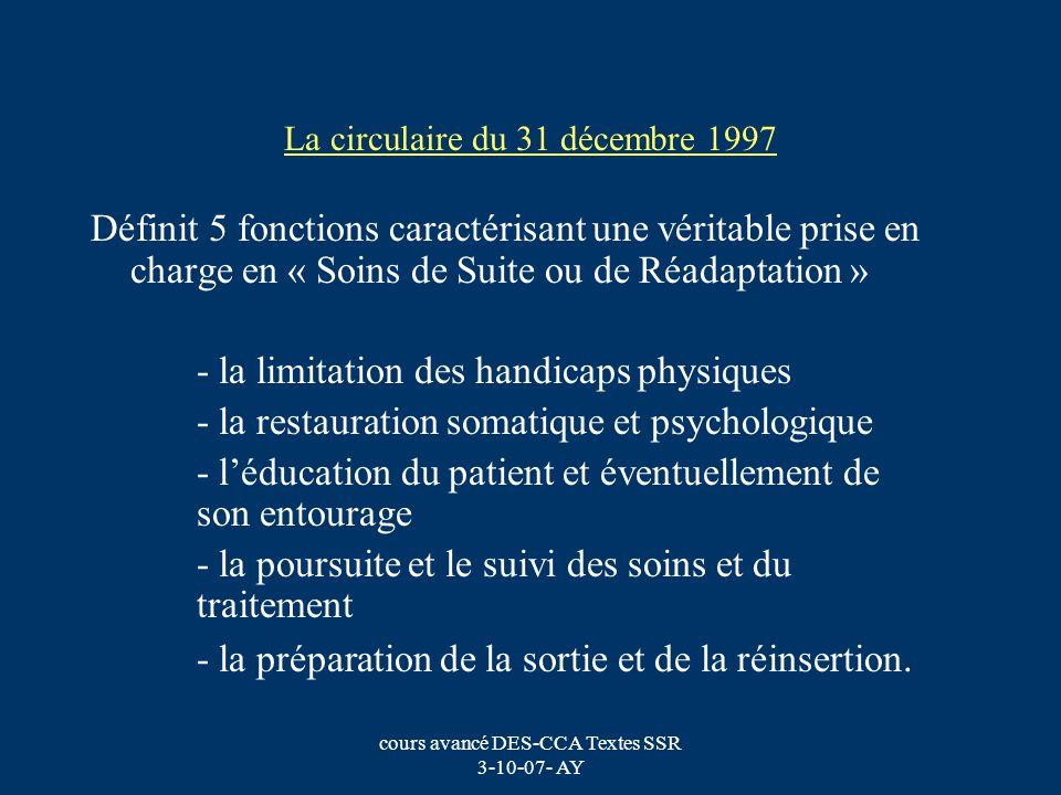 cours avancé DES-CCA Textes SSR 3-10-07- AY La circulaire du 31 décembre 1997 Définit 5 fonctions caractérisant une véritable prise en charge en « Soi