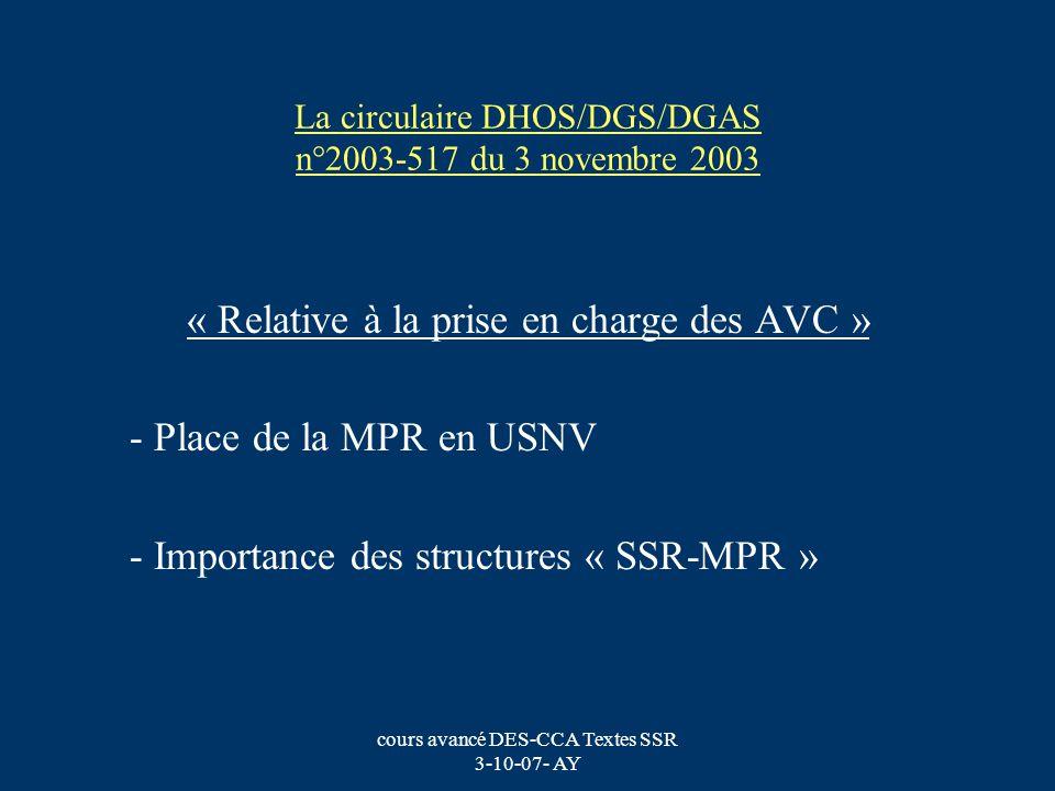cours avancé DES-CCA Textes SSR 3-10-07- AY La circulaire DHOS/DGS/DGAS n°2003-517 du 3 novembre 2003 « Relative à la prise en charge des AVC » - Plac