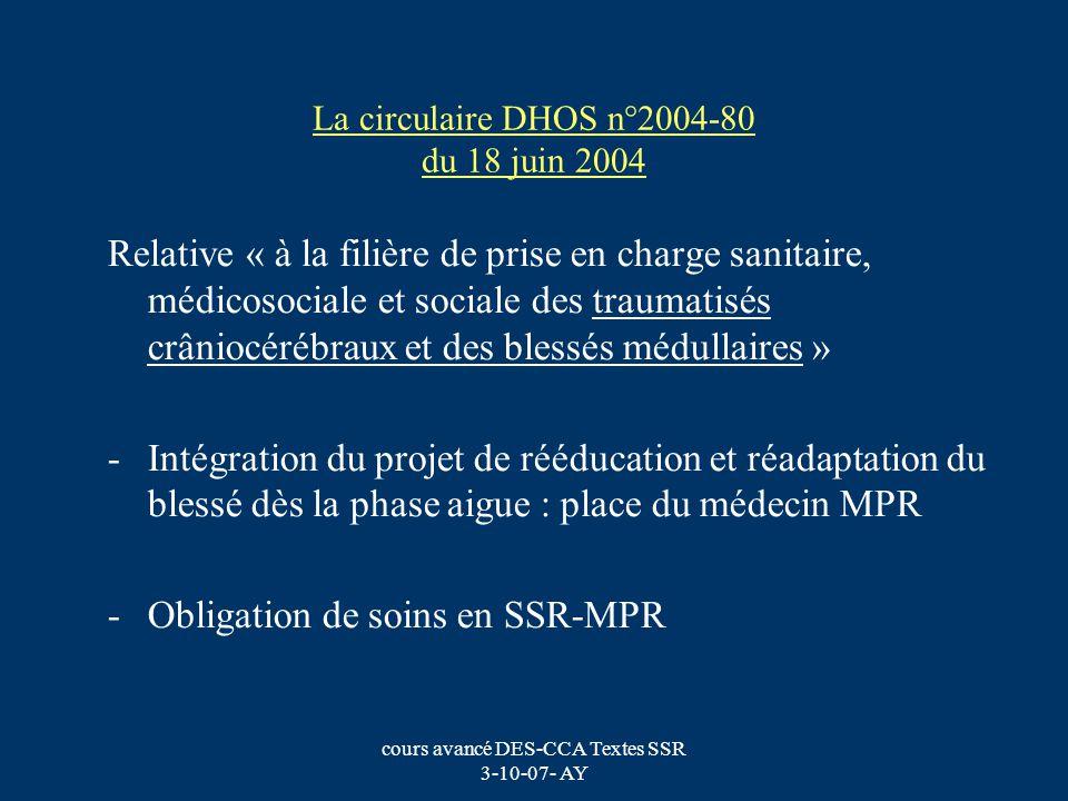 cours avancé DES-CCA Textes SSR 3-10-07- AY La circulaire DHOS n°2004-80 du 18 juin 2004 Relative « à la filière de prise en charge sanitaire, médicos