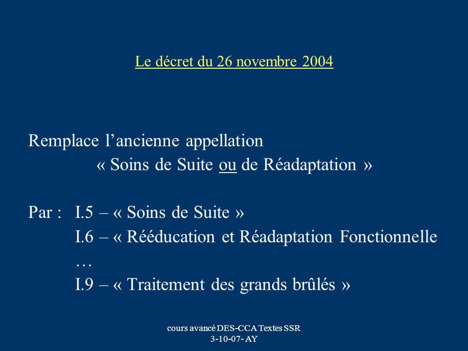 cours avancé DES-CCA Textes SSR 3-10-07- AY Le décret du 26 novembre 2004 Remplace lancienne appellation « Soins de Suite ou de Réadaptation » Par : I