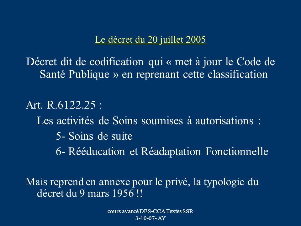 cours avancé DES-CCA Textes SSR 3-10-07- AY Le décret du 20 juillet 2005 Décret dit de codification qui « met à jour le Code de Santé Publique » en re