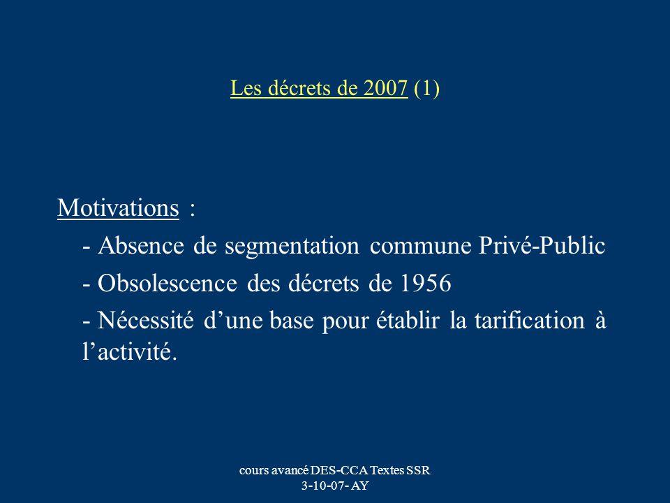 cours avancé DES-CCA Textes SSR 3-10-07- AY Les décrets de 2007 (1) Motivations : - Absence de segmentation commune Privé-Public - Obsolescence des dé