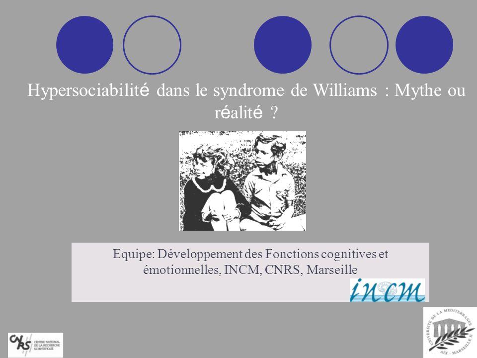 Profil génétique Micro-délétion chromosome 7 Profil cognitif atypique Pics-Vallées Profil comportemental unique Hypersociabilité Le Syndrome de Williams