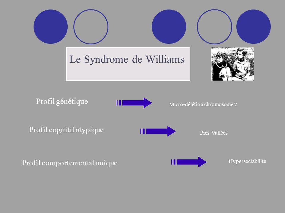 Profil cognitif atypique Dissociations inter-domaines capacités verbales (++) et visuo-spatiales (--) Dissociations intra-domaines capacités visuo-perceptives (++) et visuo-constructives (--) Retard mental léger à modéré