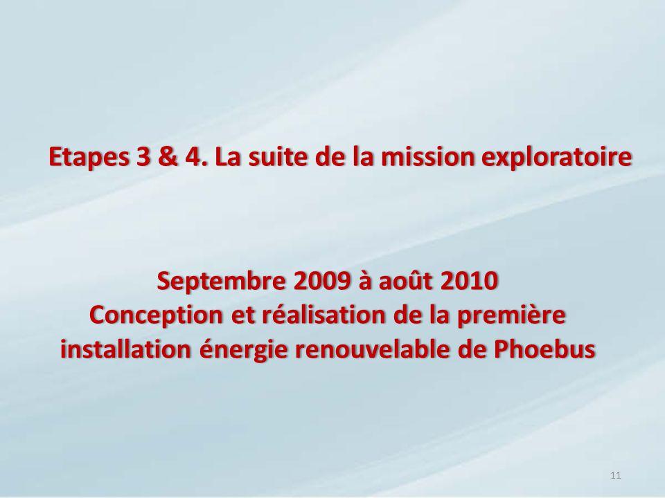 Etapes 3 & 4. La suite de la mission exploratoireEtapes 3 & 4. La suite de la mission exploratoire 11 Septembre 2009 à août 2010Septembre 2009 à août