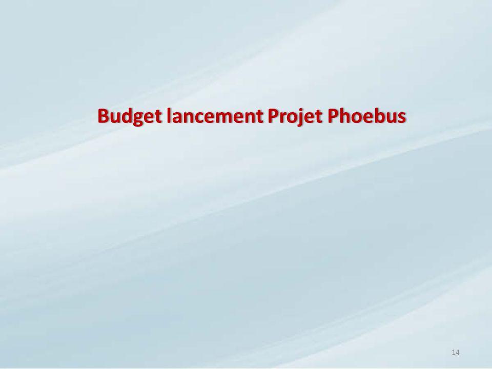 Budget lancement Projet PhoebusBudget lancement Projet Phoebus 14