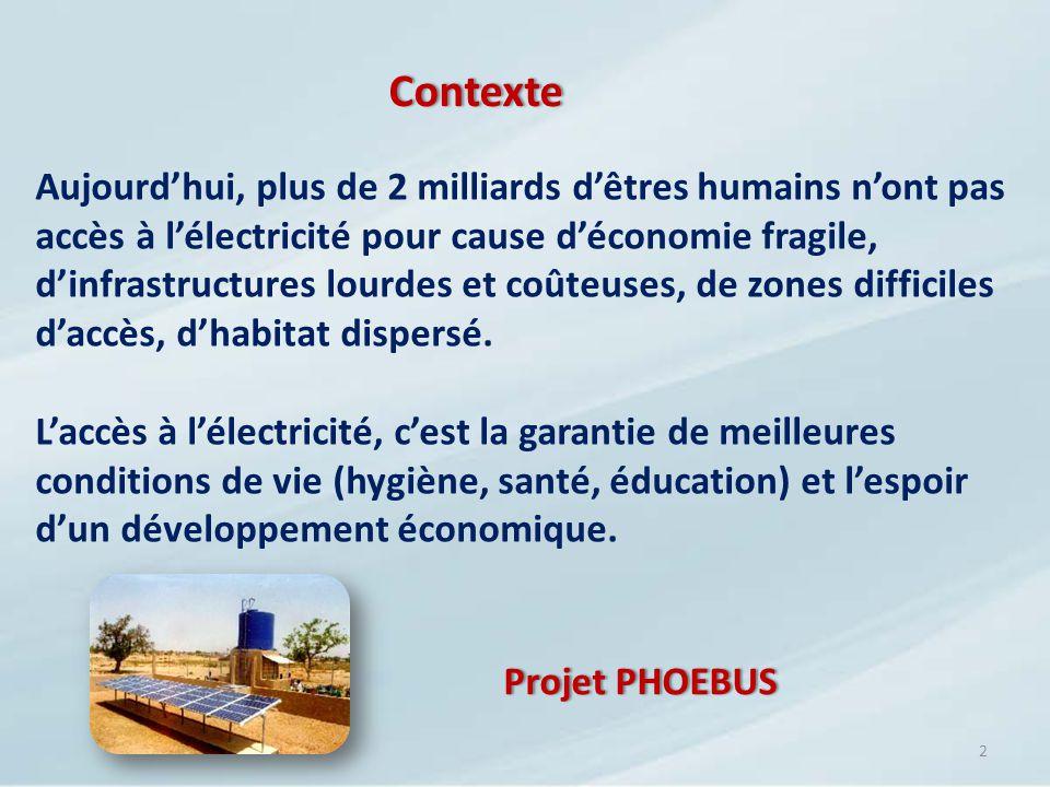 Contexte 2 Aujourdhui, plus de 2 milliards dêtres humains nont pas accès à lélectricité pour cause déconomie fragile, dinfrastructures lourdes et coût